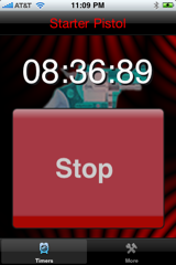 Starter Pistol iPhone App Timer display and stop timer button.