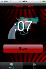This is the countdowntimer screen for the Starter Pistol iPhone App.